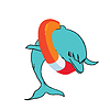 Vector clipart: Dolphin with life buoy.