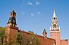 모스크바에서 시계 크렘린 벽 | Stock Foto
