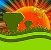 Vector clipart: elephants in savannah