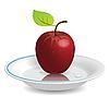 Векторный клипарт: яблоко на блюдце