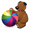 bear and colorful ball
