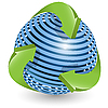 Vector clipart: blue ball and green arrows