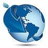 Vector clipart: blue globe with arrow
