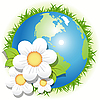 Vector clipart: blue planet and white flowers
