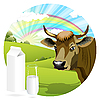 Vector clipart: cow and milk