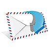 Векторный клипарт: конверт и синяя стрелка