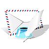 Векторный клипарт: конверт, перо и чернильница