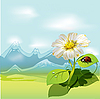 Vector clipart: white flower and ladybird