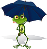 Vector clipart: frog and umbrella