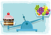 Vector clipart: Fruits And Cake