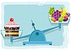 Векторный клипарт: Фрукты и торт