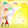Векторный клипарт: Девушка и воздушных шариков