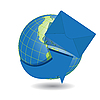Vector clipart: globe and blue envelope