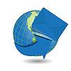 Векторный клипарт: земного шара и голубом конверте
