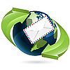 Globe and envelope | Stock Vector Graphics