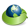 Vector clipart: globe and green arrow