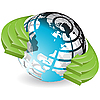 Globe and green arrows | Stock Vector Graphics