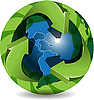 Vector clipart: Blue Globe And Green Arrows
