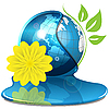 Vector clipart: Globe And Yellow Flower