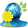 Векторный клипарт: Globe And Желтый цветок
