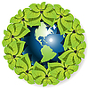 Vector clipart: globe in leaves