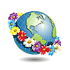 Vector clipart: globe in flower wreath