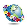 Векторный клипарт: земной шар в цветочном венке