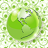 Vector clipart: globe on green pattern
