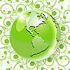 Векторный клипарт: глобус на зеленый узор
