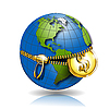 Vector clipart: globe with dollar