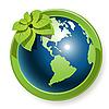 Векторный клипарт: Глобус с цветком