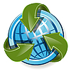 Vector clipart: globe and green arrows