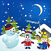 Vector clipart: snowman and kids