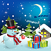 Vector clipart: snowman and gifts