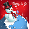 Vector clipart: snowman on globe