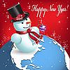 Векторный клипарт: снеговик на земном шаре