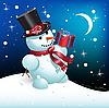 Векторный клипарт: снеговик с подарком