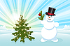 Vector clipart: snowman and Christmas tree
