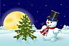 Векторный клипарт: снеговик и новогодняя елка