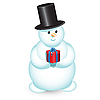 Vector clipart: snowman with gift