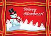 Векторный клипарт: рождественская открытка со снеговиком