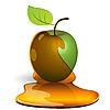 Vector clipart: green apple in honey