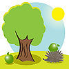 Vector clipart: hedgehog and apple