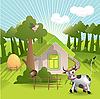 Векторный клипарт: домик и корова