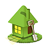 Vector clipart: green house and key