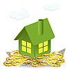 Vector clipart: green house and money
