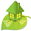 Vector clipart: green house on leaf