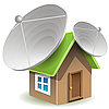 house with satellite dishes