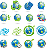 Vector clipart: icons with globe