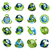 Vector clipart: icons with globe and arrows